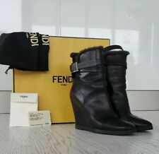 FENDI Shearling Wedge Bootie. Size 39.5