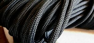 """3/8 """" x 150 ft. Rugged Double Braid Polyester Rope Hank .Black .Made in USA"""