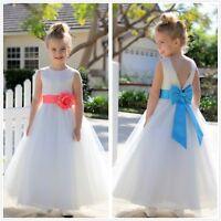 V-Back Lace Edge Ivory Flower Girl Dress Communion Dress Toddler Baptism Dresses