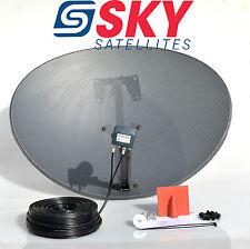 Freesat / Sky 80cm Zone 2 Satellite Dish & Quad LNB 40m Twin Black Install Kit