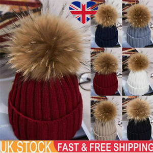 UK Ladies Warm Winter Beanie Large Faux Fur Pom Pom Bobble Hat Knitted Ski Cap ~