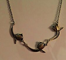 ART NOUVEAU STYLE DANCING TULIPS DARK GOLD PLATED NECKLACE