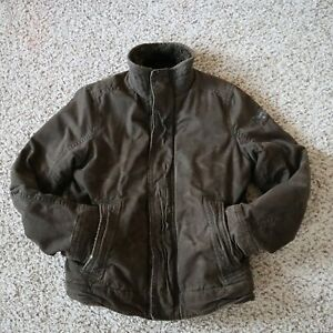 Abercrombie & Fitch Brown Adirondack Faux Fur Lined Work Jacket Mens Size Medium