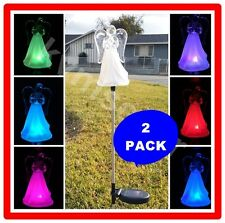 2 Pack Solar Powered Acrylic Angel Frosted Skirt Garden Stake Pathway Lawn Led