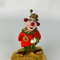 Ron Lee Happy Lady Clown Flower In Hat Hand Signed 24k Gold 51/2'' Tall