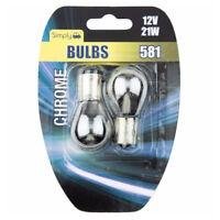 2 x 581 12V PY21W Silver Chrome Indicator Offset Pin Shine Amber Bulbs BAU15S