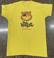 Vintage 80s 90s The Tom Cat From Early Times Graphic T-Shirt Sz XLarge Yellow