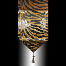 FASHION BROWN VELVET BLACK ZEBRA PRINT DECORATIVE WEDDING TABLE RUNNER CLOTH