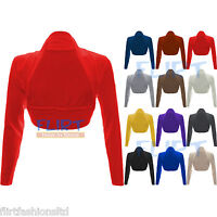 Womens Long Sleeve Boleros Shrugs Tops Ladies Casual Crop Cardigan Bolero Top