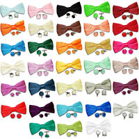 DQT Premium Satin Solid Plain Casual Pre-Tied Men's Bow Tie and Cufflinks Set