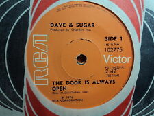 "Dave & Sugar ""The Door Is Always Open"" Very Rare NZ 7"""