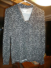NWT CHARTER CLUB Leopard PRINT Top BLOUSE with BOW Unique BUTTONS XS $64+