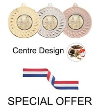 SPECIAL OFFER 10 x Fishing 50mm Metal Medals & Ribbons Gold Silver and Bronze