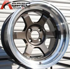 15X7 ROTA GRID-V WHEELS 4X100 GUN METAL RIMS ET20MM FITS CIVIC INTEGRA DELSO CRX