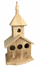 """Unbranded Birdhouse Diy Unpainted Raw Wood 13"""" tall 7"""" wide"""