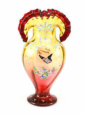 Continental Gradient Yellow, Cranberry Ruffled Hand Painted Art Glass Vase c1900