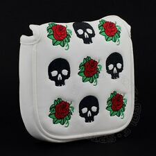 Skull & Rose Head Cover for Odyssey 2-Ball, V-Line, #7, Marxman Mallet Putters