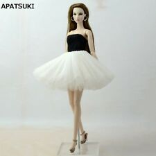 Black White Patchwork Ballet Dress For Barbie Doll Clothes For Barbie Dolls 1:6