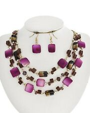 Three Layers Multi Purple Square Shell Faceted Glass Bead Necklace Earring Set