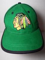 Vintage 1990s CHICAGO BLACKHAWKS LOGO NHL National Hockey League GREEN HAT CAP