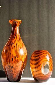 vintage murano tiger stripe vase set (preowned)