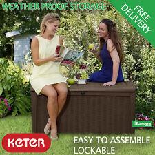 Keter Borneo Outdoor Garden Storage Box - Brown Seat Rattan Style 1.3m long