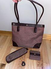 Etienne Aigner Shoulder Bag Burgundy with Accessories ~ EUC