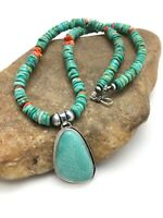Navajo Green Turquoise Spiny Sterling Silver Necklace Pendant 19in 3113