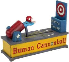 Human Cannonball Coin Bank Die Cast Iron Mechanical Educational Tool Durable New
