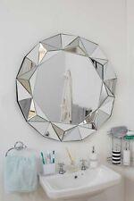 Bathroom Modern Silver Round Venetian Wall Mounted Mirror 3Ft 90cm