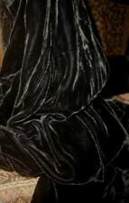 Lush Antique French Edwardian SILK VELVET Midnight Black Large Remnant Sooo Soft