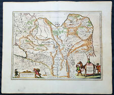 1652 Jansson Original Antique Map Central Asia, China, Caspian, Russia, Siberia