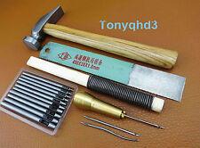 5pc Professional Cobbler's Shoe Repair Punch Awl Cutter Hammer Rasp Tool Kit Set
