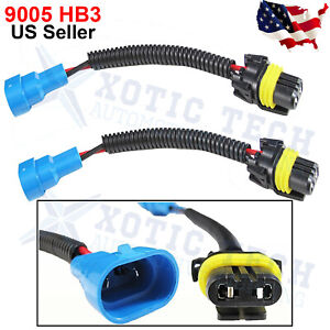 2X 9005 HB3 9145 H10 Extension Wiring Harness Socket For Headlight Fog Light DRL