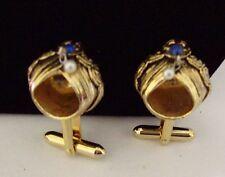 Vintage Cufflinks - Gold Tone Arabian Turban w/ Gems