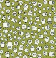 Monster grün Kinderstoff Patchworkstoff Stoff Baumwollstoff weiß