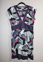 BOOM SHANKAR Brand Women's Navy V Neck Short Sleeve Day Dress Size 12 #AN02