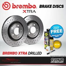 Brembo Xtra Rear Solid High Carbon Drilled Brake Disc Pair Discs x2 08.B413.1X