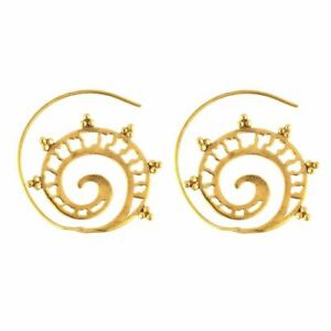 81stgeneration Womens Brass Gold Tone Ethnic Tribal Spiral Dotwork Earrings