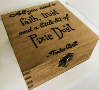 Personalised Wooden Keepsake Memory Box Disney Tinkerbell Quote Engraved Gifts