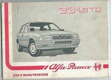 1988 ALFA ROMEO 33 1.8 TURBO DIESEL 1 serie manuale originale uso e manutenzione