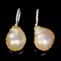 Baroque Pearl Earrings Silver 925 Sterling Handmade Unique Earrings  /E39670