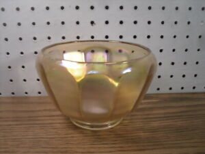 Candy Bowl Carnival Glass Iridescent Modern - Faceted w/ Turned-In Top Edge