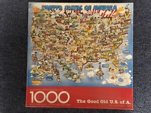 The Good Old U.S. of A. United States Map 1000 Piece Puzzle Springbok Vintage-