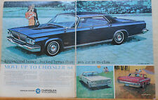 1963 two page magazine ad for Chrysler - New Yorker, Newport, 300 , colorful