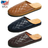 US Men Plaids Slippers Warm Home Indoor Shoes Leather Mules Closed Toe Backless