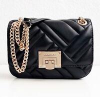 Michael Kors Tasche/Bag Vivianne SM Shoulder Flap Quilted Leather Black/Gold NEU