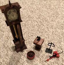 Dollhouse Miniature Wood Grandfather Clock Pendulum Table telephone umbrella +