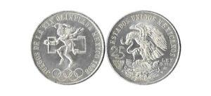 1968 Mexico XIX Olympic Games Aztec Ball Player BIG 25 Pesos Silver Coin VG