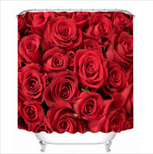 Valentine Red Rose Shower Curtain Set 180CM Bathroom Waterproof Fabric Curtains